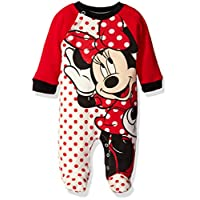 Disney Baby Girls' Minnie Interlock Coverall, Red, 6/9 Months