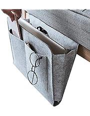 Dewsshine Felt Bedside Caddy Hanging Storage Organized, Bed Sofa Storage Organizer Nightstand with Pocket for TV Remote Control, Phones,Magazines, Accessories (Grey)