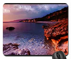 amazing coastal village at sunset Mouse Pad, Mousepad (Beaches Mouse Pad) by icecream design