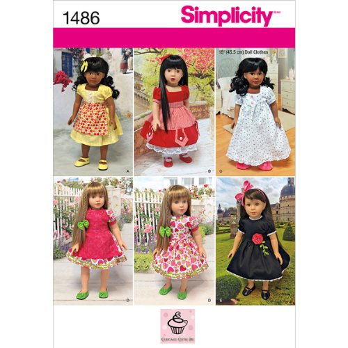 Simplicity 1486 Vintage Doll Clothes and Dress Sewing Patterns for 18'' ()