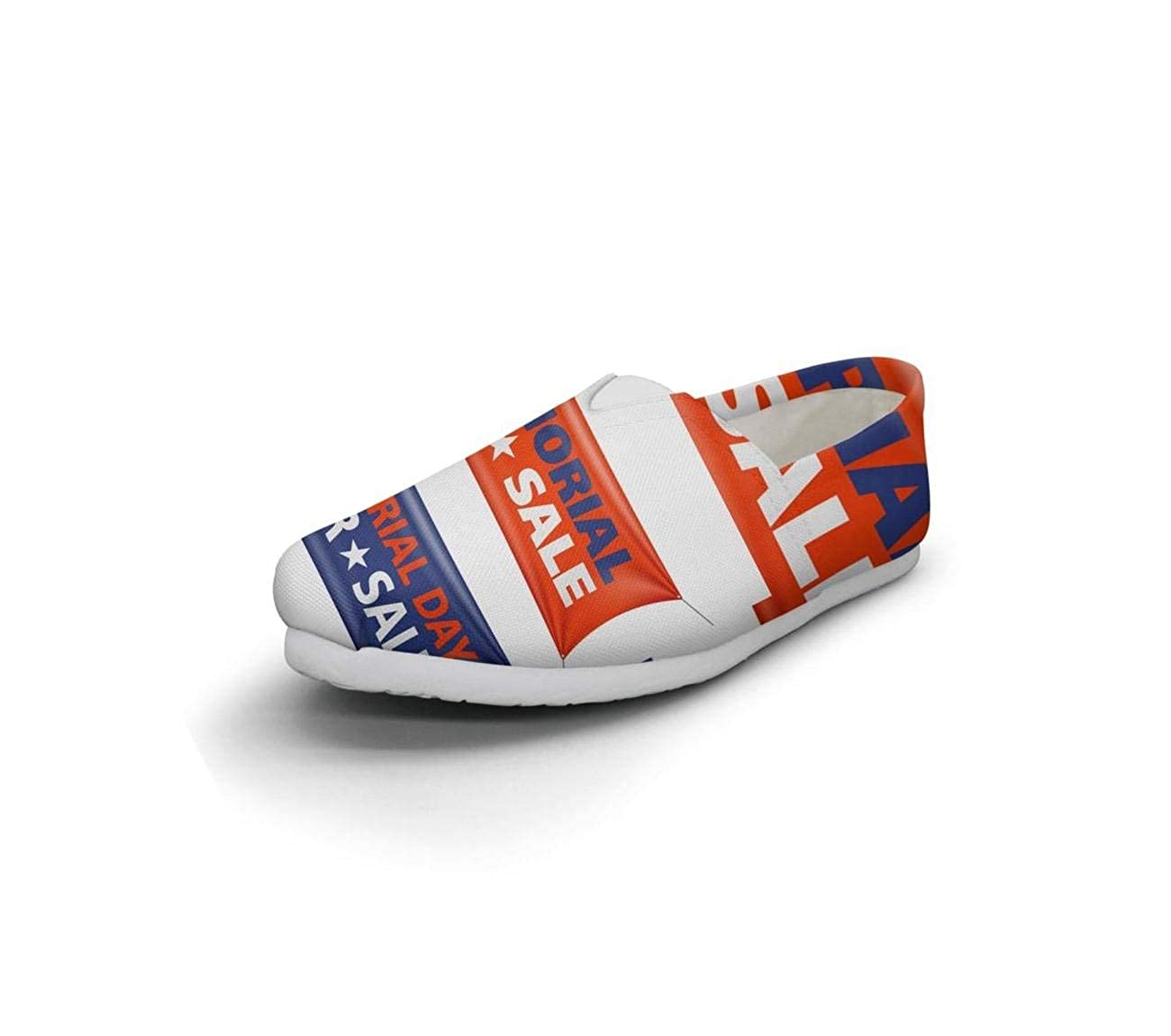 nkfbx Memorial Day American Flag Casual Slip-On Canva Shoes for Women Travel