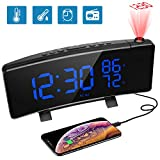 Projection Alarm Clock, [Upgraded Version] PEYOU 7'' Large LED Curved Display with Temperature