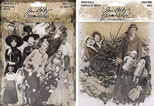 Tim Holtz Idea-Ology 2018 Halloween Ancestors Paper Dolls and 2018 Christmas Paper Dolls - 2 Item Bundle