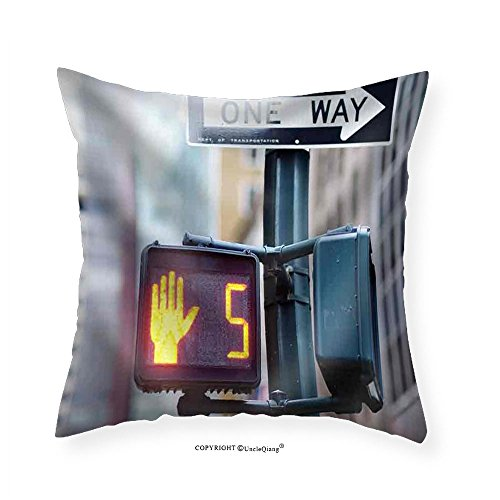 VROSELV Custom Cotton Linen Pillowcase Stock Photo - DonT Walk New York Traffic Sign on Blurred Background - Fabric Home Decor (Blurred Cats)
