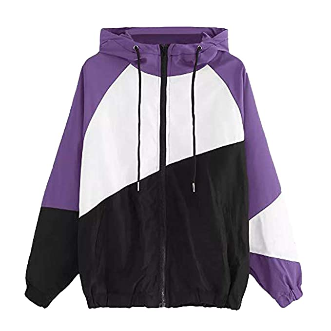Womens Girls Hoodies Zip Up Long Sleeve Patchwork Thin ...