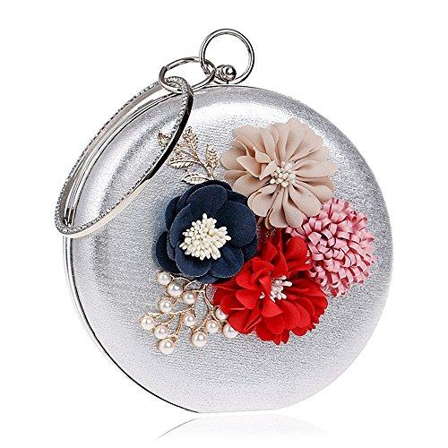 Bag Saisons Carrière silver Parti pour Soirée Casual Perles et les Pétale PU Formel Toutes Mariage TuTu Fleur Événement Strass Bureau REZUfHq