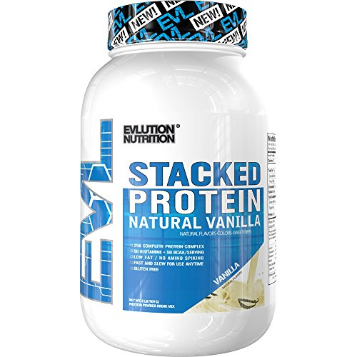Cheap Evlution Nutrition Stacked Protein Natural 2lb Protein Powder With 25 Grams of Protein, 5 Grams of BCAA's and 5 Grams of Glutamine (Vanilla)