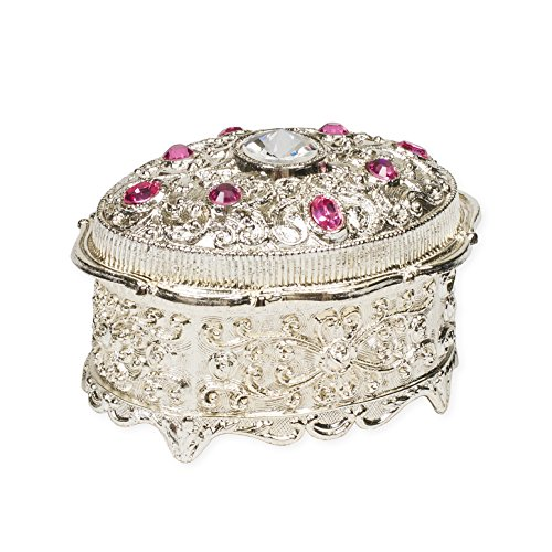 Pink Jeweled Oval Shaped Silver Tone Metal Music Box Plays My Heart Will Go On