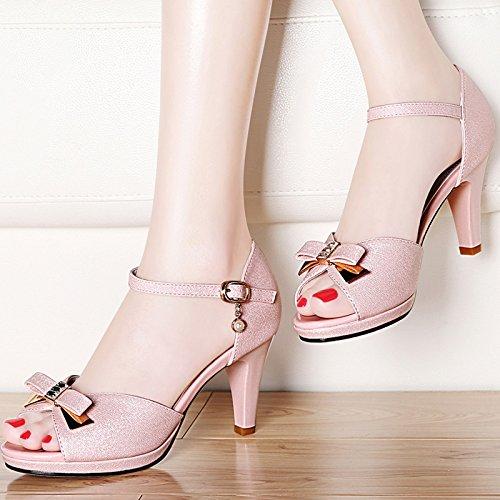 De Fendue UK1 Bride Unique EU33 Étanche SHOESHAOGE Bouche Femelle Talons Avec Femmes 118 Chaussures Poisson Sandales Hauts Fine À CpRwpgq5