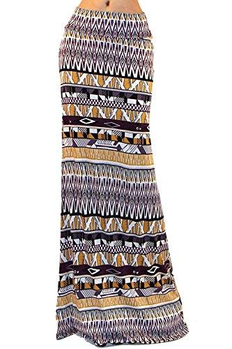 Printed Long Skirt - Vivicastle Women's Colorful Printed Fold Over Waist Long Maxi Skirt (Small, F98, Multi)