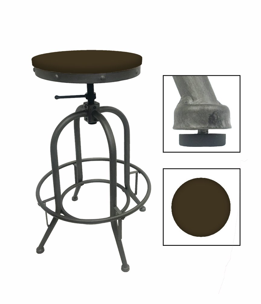 """1 - Adjustable 26""""- 30"""" Tall Rustic Metal Swivel Seat Bar Stool Featuring Your Choice of a Colored Vinyl Seat Cushion (Brown)"""