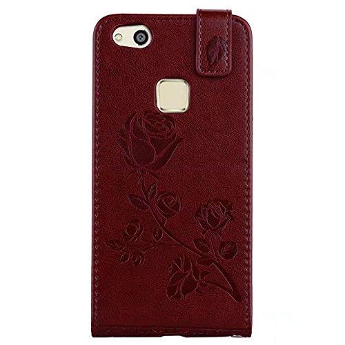 YHUISEN Huawei P10 Lite caso, en relieve Rose flor patrón vertical Flip caja de cuero con ranura para tarjeta Huawei P10 Lite ( Color : Red ) Brown