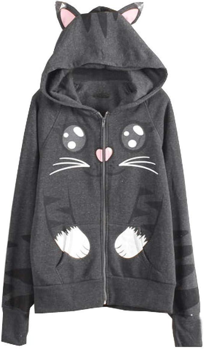 PinkLu Abrigo Mujeres Gris Estampado Gato Suéter de Manga ...
