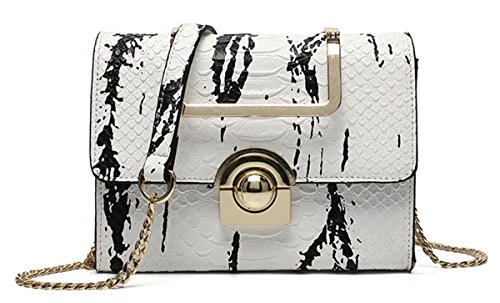 Snake Handbag - Hologram Snake Skin Leather Shoulder Bag Crossbody Bag Purse for Women (White)