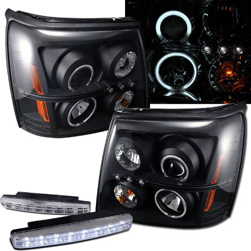 2005 Cadillac Escalade Ccfl Halo Projector Headlights + 8 Led Fog Bumper Light