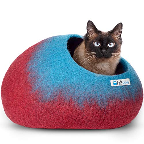 Feltcave Wool Cat Cave Bed (Medium), Handcrafted from 100% Merino Wool, Eco-Friendly Felt Cat Cave for Indoor Cats and Kittens