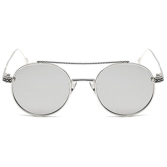 21f3e6c61b4413 Inlefen Hommes femmes Ronde Lunettes de Soleil Métal Cadre Mince Léger  Miroir Lentille UV400