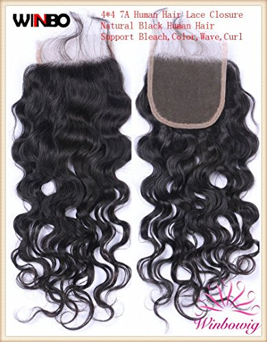 WINBO Brazilian Human Hair Lace Closure 4″x4″ Free Part Natural Black Water Curl (8 Inches) Review