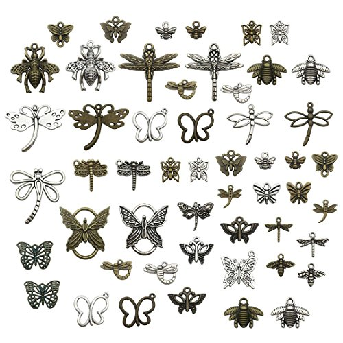 70 PCS Insect Charms Collection - Antique Silver Bronze Colors Mixed Dragonfly Butterfly Bee Metal Pendants (HM74)