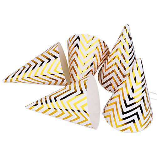 Boieo Gold Birthday Party Cone Hats, 12 -