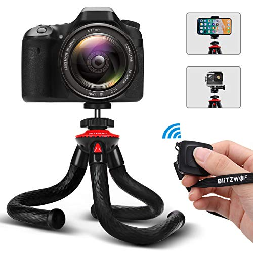 Camera Tripod, BlitzWolf Flexible Tripod, Phone Tripod with Bluetooth Remote & Phone Holder for iPhone Xs Max, Samsung, with 1/4'' Screw & Adapter for Camera, Action Camera, DSLR Sony Nikon Canon (Rubber Camera Digital)