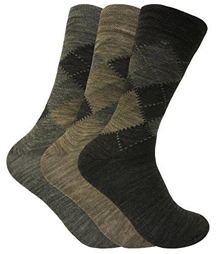 3 Pack Mens Thin Warm Lambs Wool Blend Argyle Patterned Hiking Crew Socks (7-12 US, SED Brown)