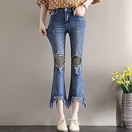 Amazon Com Gold Happy High Waist Jeans Women Spring Scratched Jeans