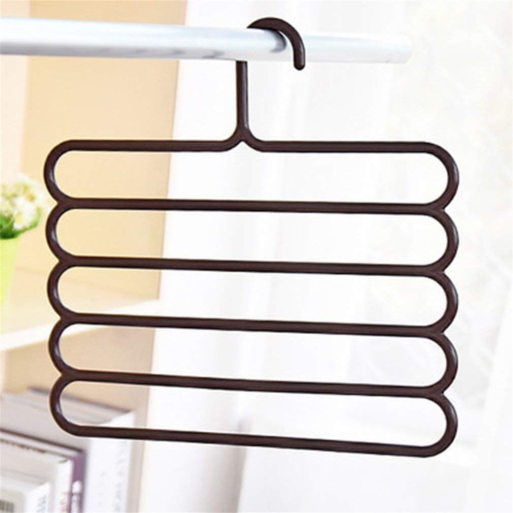 Beautyer Anti-Slip Multiple Layer Trousers Pants Hanger Closet Rack S-Type 5 Layers