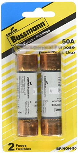 Bussmann BP/NON-50 50 Amp One-Time Cartridge Fuse Non-Current Limiting Class K5 250V UL Listed Carded, (One Time Cartridge Fuse)