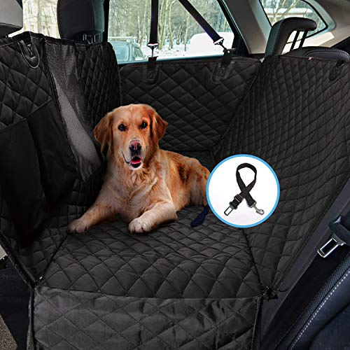 HOUSE DAY Dog Back Seat Cover Protector 900D with Mesh Viewing Window & Storage Pocket, Waterproof Non-Scratch Dog Car…