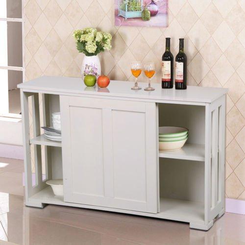 Door Single Deep Wine Cabinet (Storage Cabinet Sideboard Buffet Cupboard Wood Sliding Door Pantry Kitchen New)