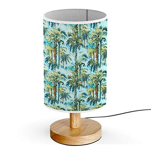 ARTSYLAMP - Wood Base Decoration Desk Table Bedside Light Lamp [ Tropical Palm Trees ]