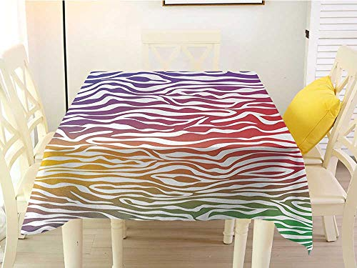 - L'sWOW Square Tablecloth Overlay Zebra Print Abstract Zebra Skin Pattern Geometric Horizontal Stripes Illustration Purple Red Yellow Kitchen 36 x 36 Inch