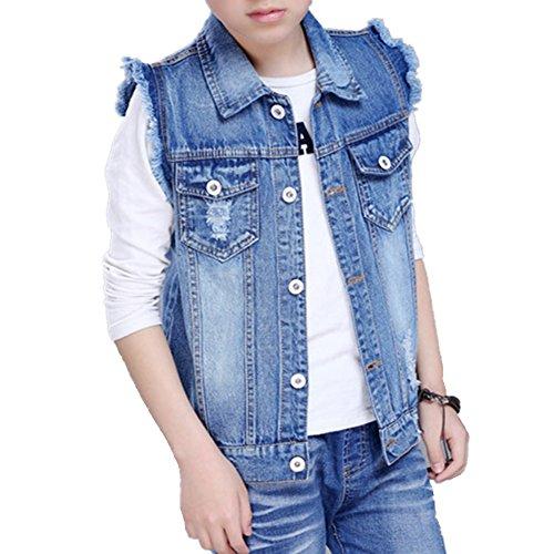 Oushiny Unisex Kids' Sleeveless Denim Vest Cute Kids' Gilet,11-12