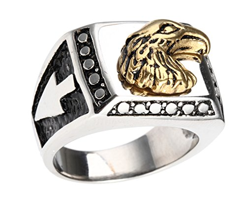 HIJONES Men's Polished Stainless Steel Biker Ring with Eagle Engraved in Front, Silver Size 8