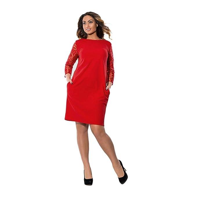 4d05570e3046 übergröße Kleider Vintage Damen Kolylong® Frauen Elegant Spitze Plus ...