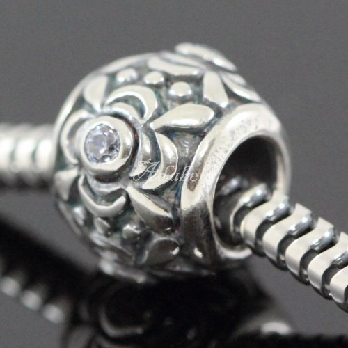 - Flower Design .925 Sterling Silver Charm With Birthstone Crystal June Rosaline Fits Pandora, Biagi, Troll, Chamilla and Many Other European Charm #EC458