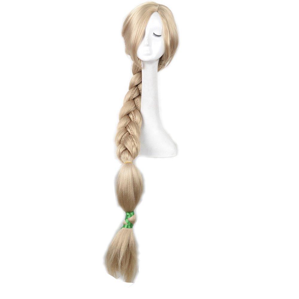 Yuehong 47 inch Long Blonde Cosplay Weaving Braid Hair Rapunzel Wig
