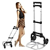Leoneva Aluminum Heavy Duty Folding Hand Truck Dolly Luggage Cart (150lb)