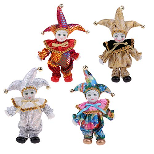 CUTICATE Set of 4pcs Porcelain Dolls Collectible 6inch Height Harlequin Doll in Costume, Creative Valentin Gifts for Him or Girlfriend -