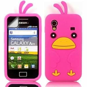 Chicken Silicona Cubrir Caso Piel Y Pantalla LCD De Guardia Para Samsung Galaxy Ace S5830 / Pink