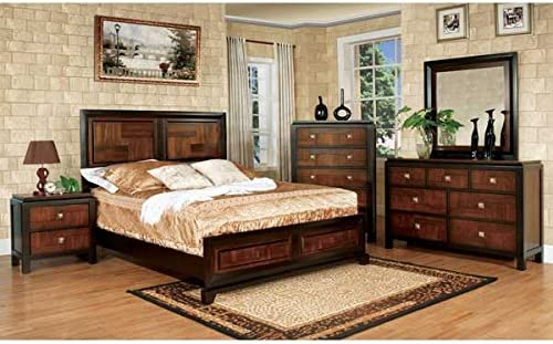 Patra Asian Contemporary Style Acacia Walnut Finish Queen Size 6-Piece Bedroom Set