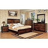 Captivating Patra Asian Contemporary Style Acacia Walnut Finish Queen Size 6 Piece Bedroom  Set