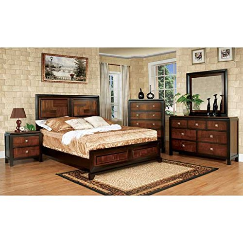 Asian Style Furniture - Patra Asian Contemporary Style Acacia Walnut Finish Eastern King Size 6-Piece Bedroom Set