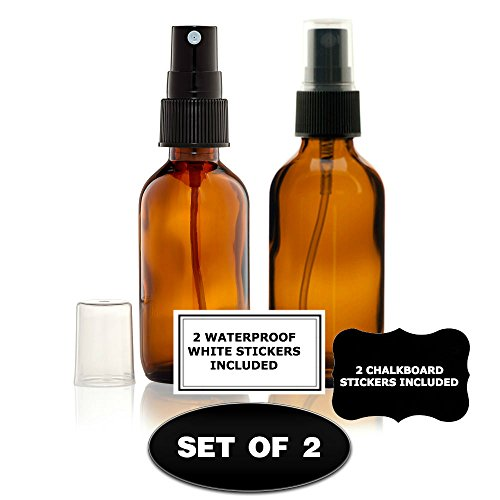 (2) Glass Amber 2 Oz Bottles with Black Fine Mist Sprayer for Aromatherapy & Cosmetic -