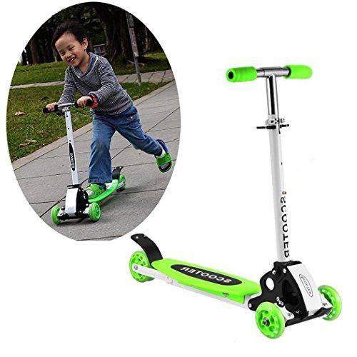 Fashine Kids 3 Wheel Foldable Kick Scooter, Height Adjustable / LED Flashing Wheel Kick Scooter for Children (3-12 Years Old) [US STOCK] (Green)