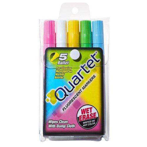 Quartet Glo-Write Fluorescent Markers, Wet-Erase, Assorted Colors, 5 Pack (5090)