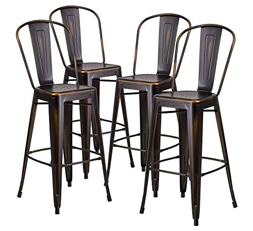Wood & Style Furniture 4 Pack 30'' High Distressed Copper Metal Indoor-Outdoor Barstool with Back Home Bar Pub Café Office Commercial