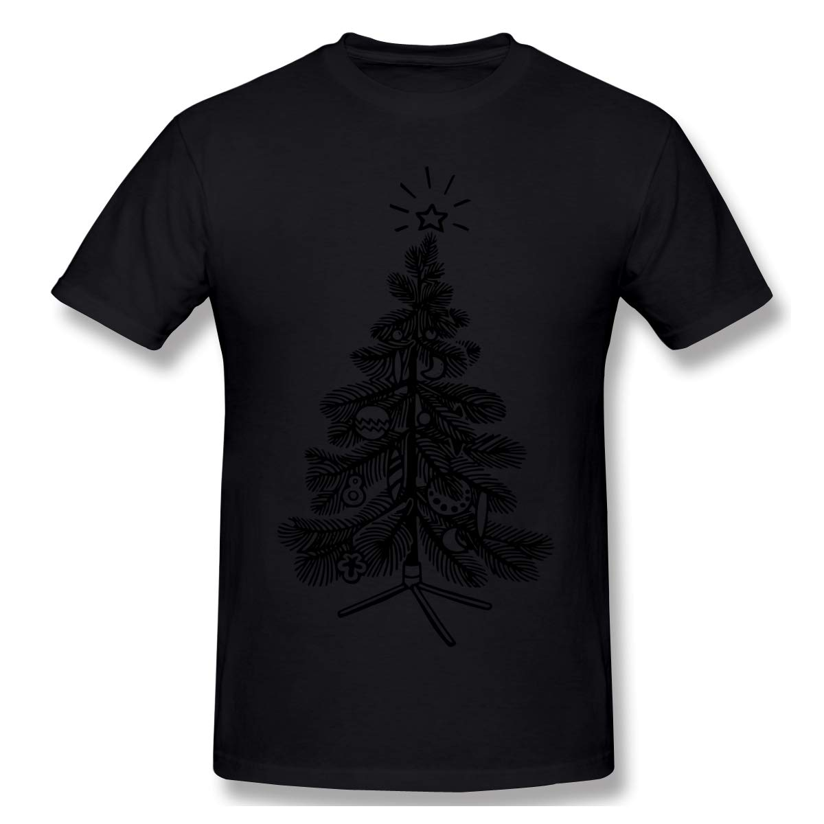 LSYLCHERRY Men Big White Distressed Christmas Tree Fan 100/% Cotton Crew Neck Classic Short Sleeve Adult Tees