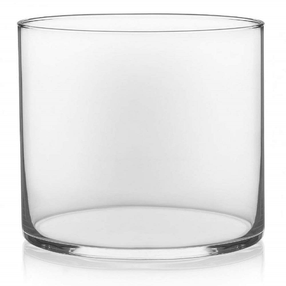"""Floral Supply Online - 4"""" Tall x 4"""" Wide Cylinder Glass Vase for Weddings, Events, Decorating, Arrangements, Flowers, Office, or Home Decor."""